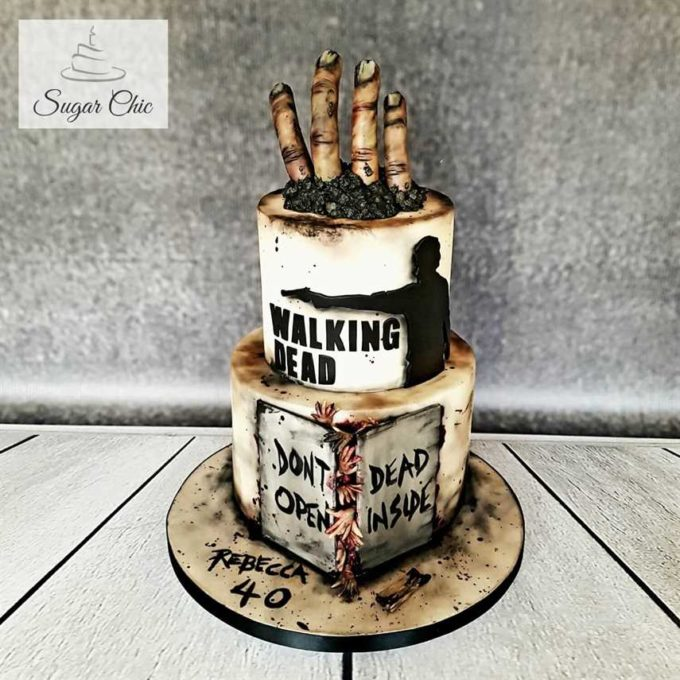 the walking dead zombie fingers wedding cake