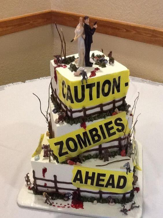 zombie ahead caution sign wedding cake halloween