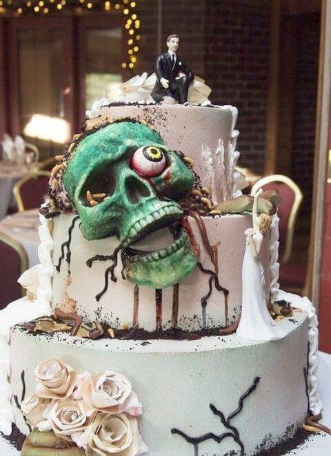 zombie head halloween wedding cake