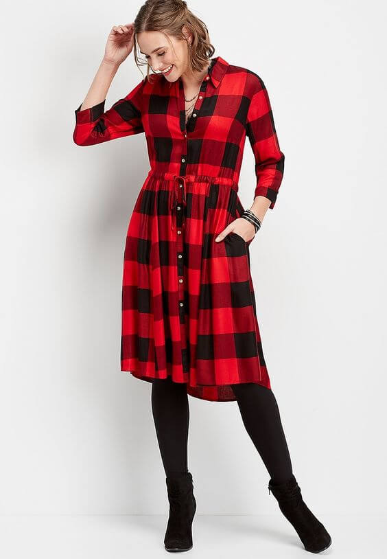 buffalo plaid print shirtdress ideas for christmas chruch outfit
