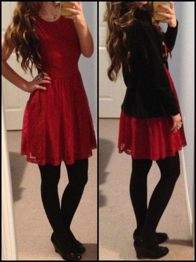 christmas red lace dress ideas for teen girls