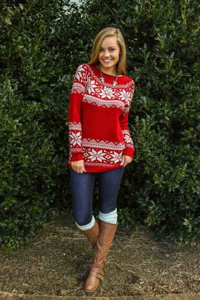 christmas sweater outfit ideas for teenage girl