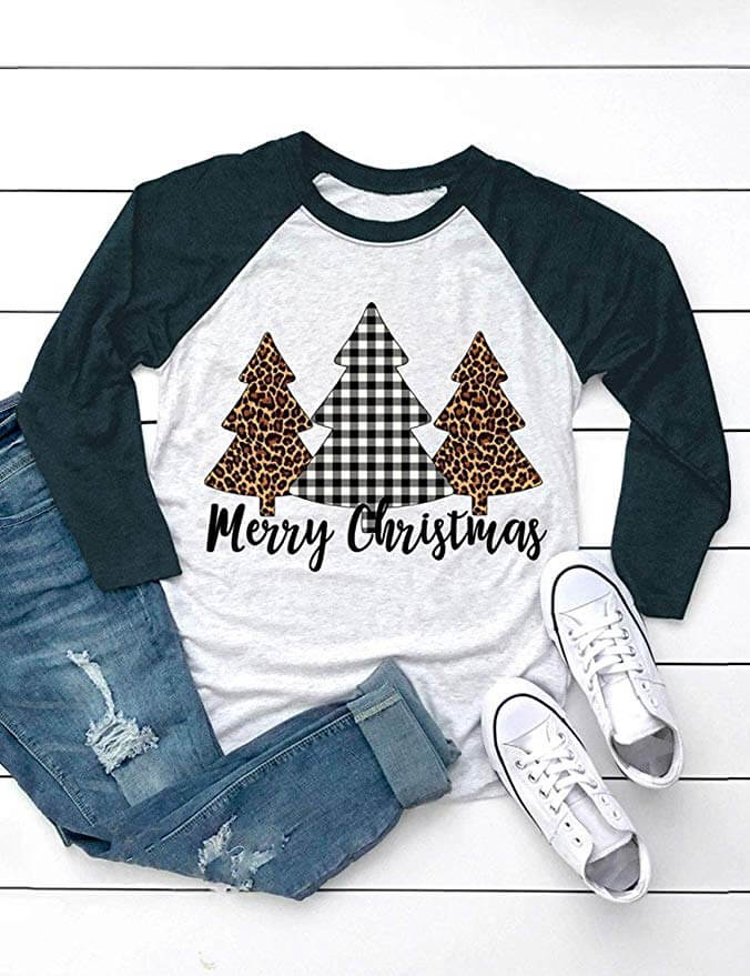 christmas tree shirt casual outfit ideas for teen girls