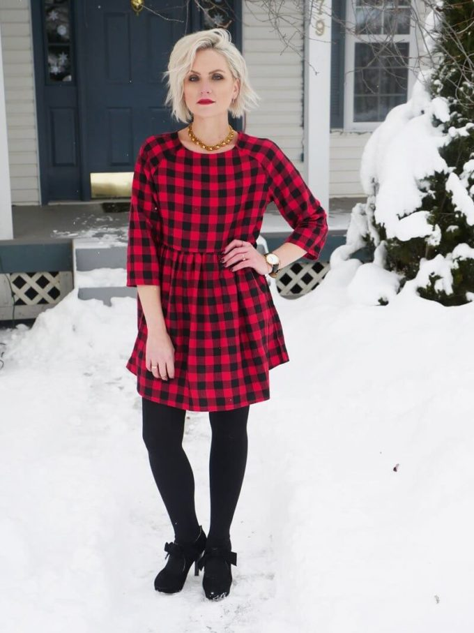 christmas wardrobe buffalo plaid shirtdress for chruch