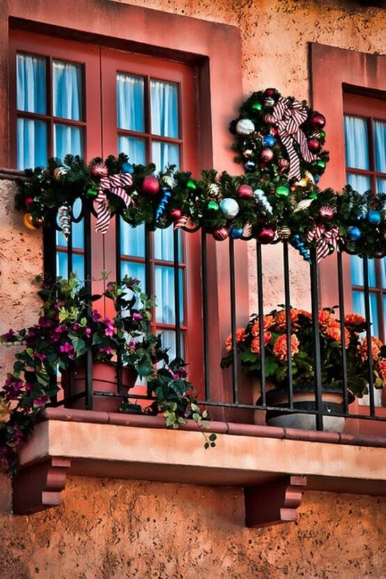 colorful christmas balcony decorations with ornaments