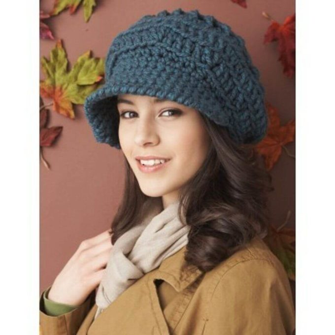 crochet caps for girl with short-medium length hair