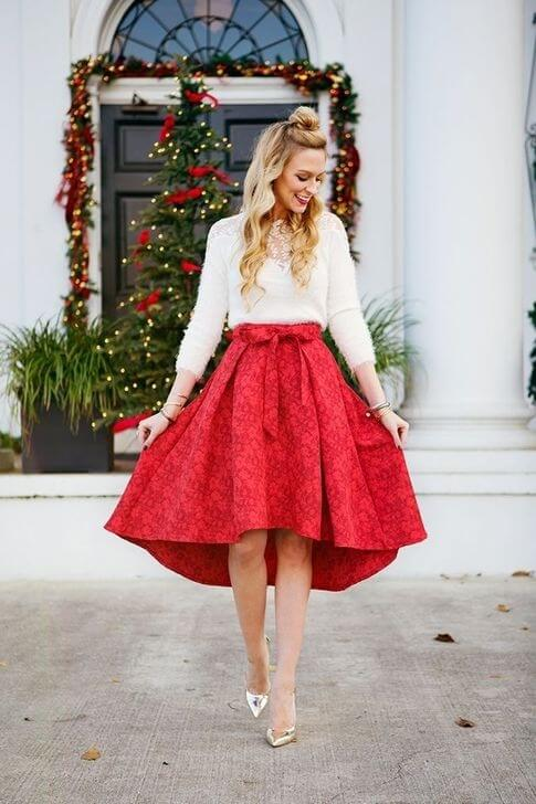 female red and white christmas dress ideas for chruch