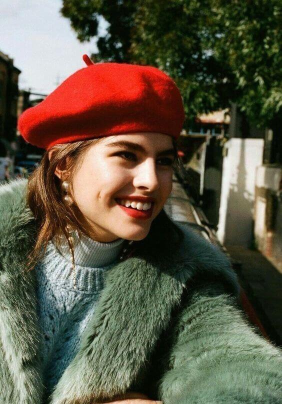 females red beret hat ideas with winter outfit