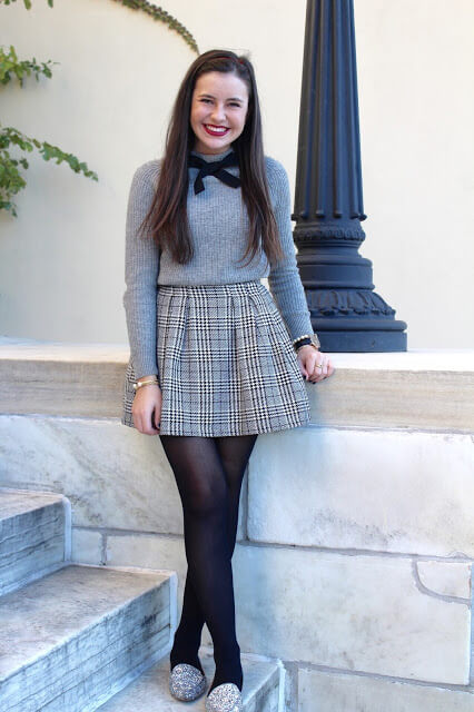 festive grey sweater with bow and miniskirt girls outfit for chruch