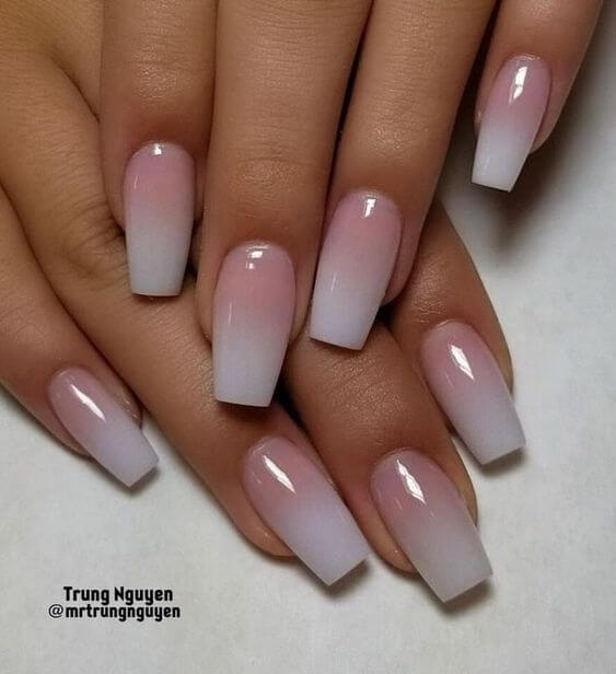 french ombre white coffin nails