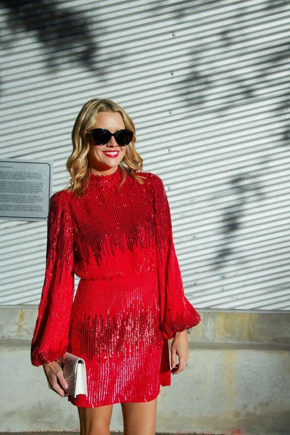 girls christmas party red sparkly sequin dress ideas