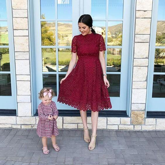 maroon lace dress ideas for christmas chruch services