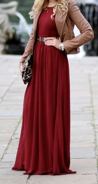 maroon maxi dress with jacket christmas outfit ideas for chruch