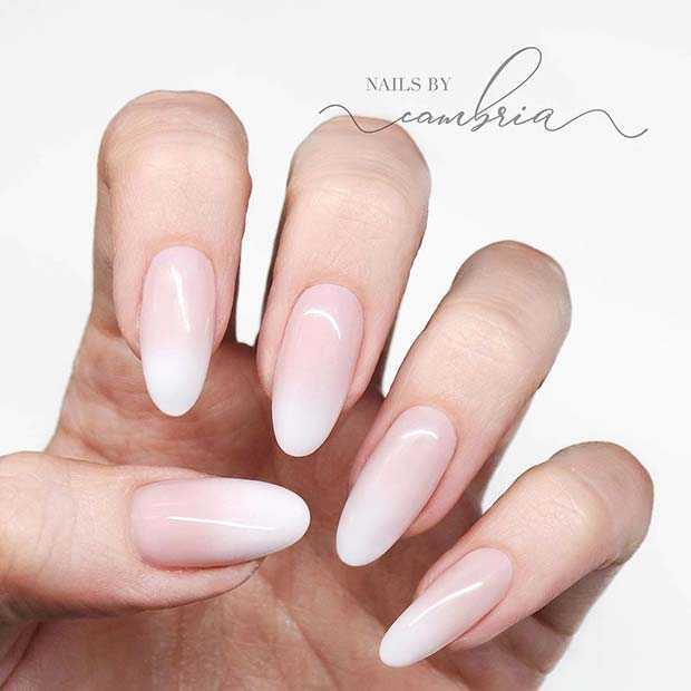 oval baby boomer white coffin ombre nails