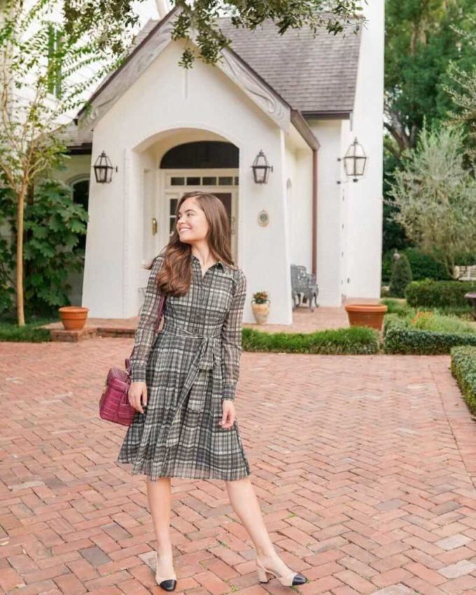 plaid shirtdress ideas for chruch outfit