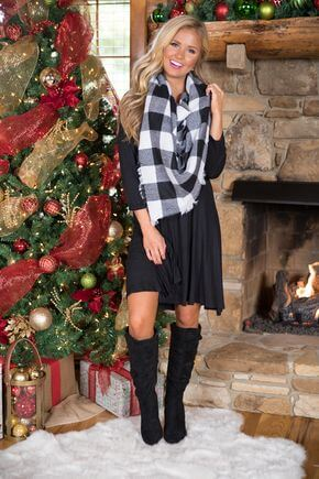 scarf with black dress christmas outfit ideas
