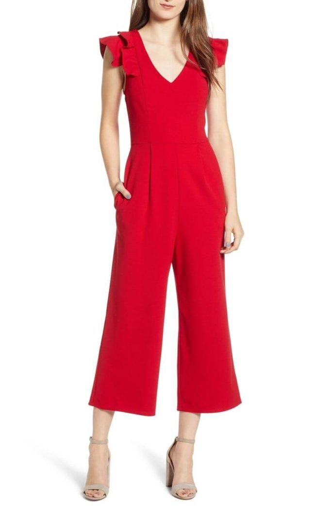 sleeveless red christmas jumpsuit ideas for teenage girl