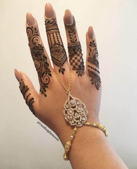 bridal jewellery mehandi designs on fingers