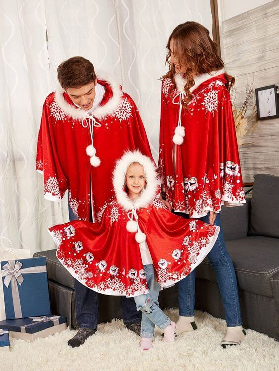 christmas poncho outfit ideas for family