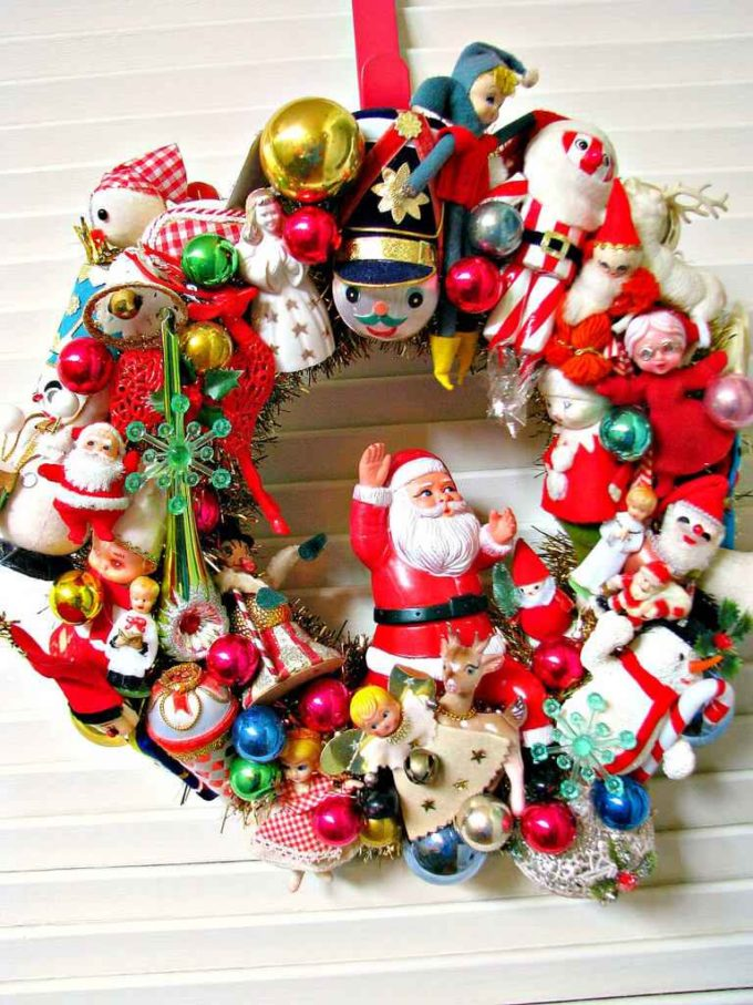 christmas wreath decorated ornaments ideas