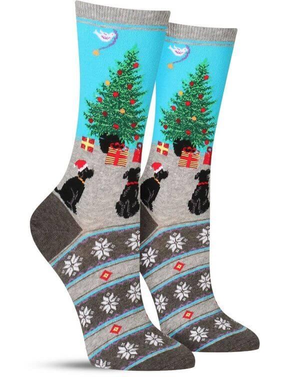 dog and christmas tree picture ugly christmas socks