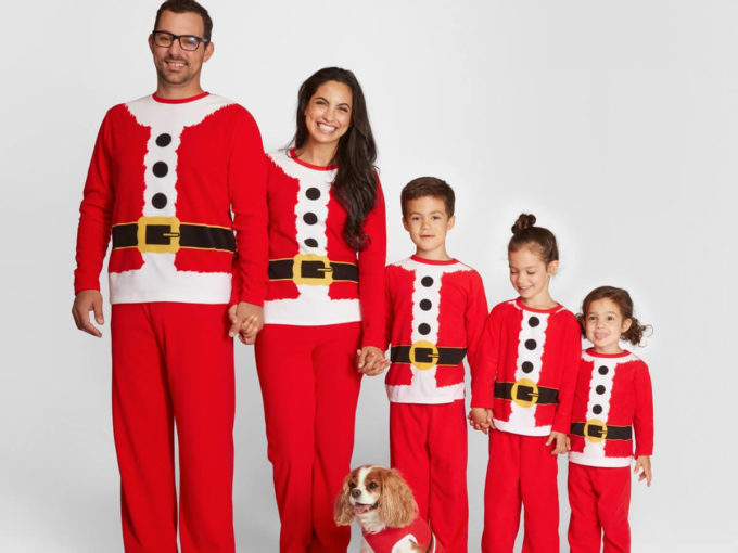 family christmas matching santa claus outfits