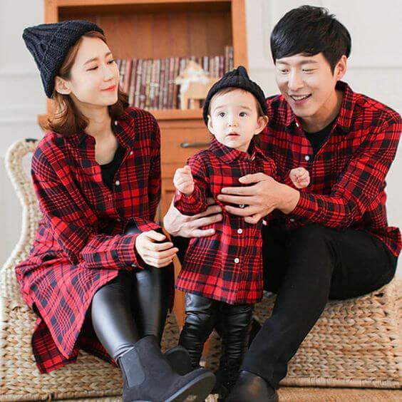 family matching red and black outfit ideas