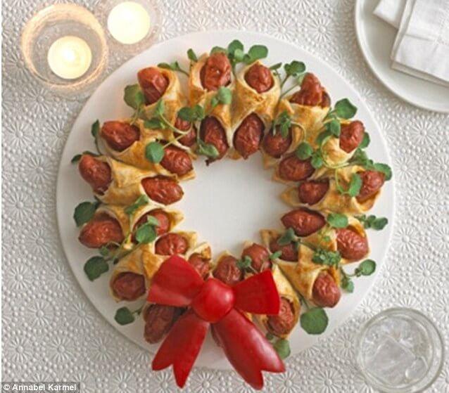 hot dog christmas wreath food ideas
