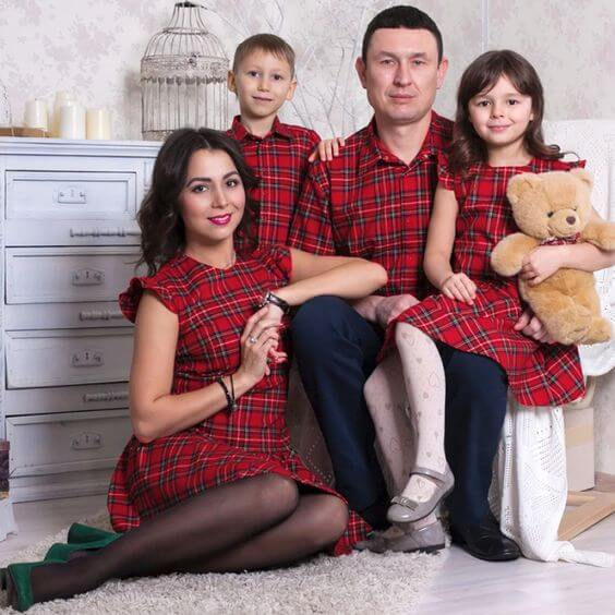 matching red and black christmas family outfits