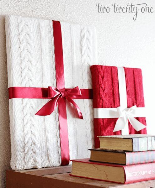 sweater gift wrap decoration ideas for christmas