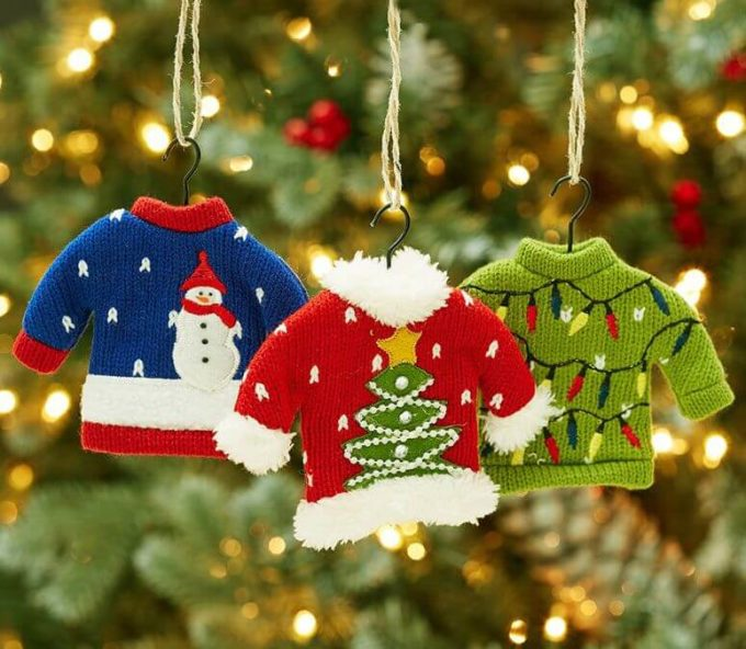 tiny ugly christmas sweater ornament ideas for decoration