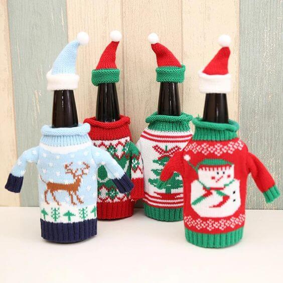 ugly christmas sweater decorated bottles