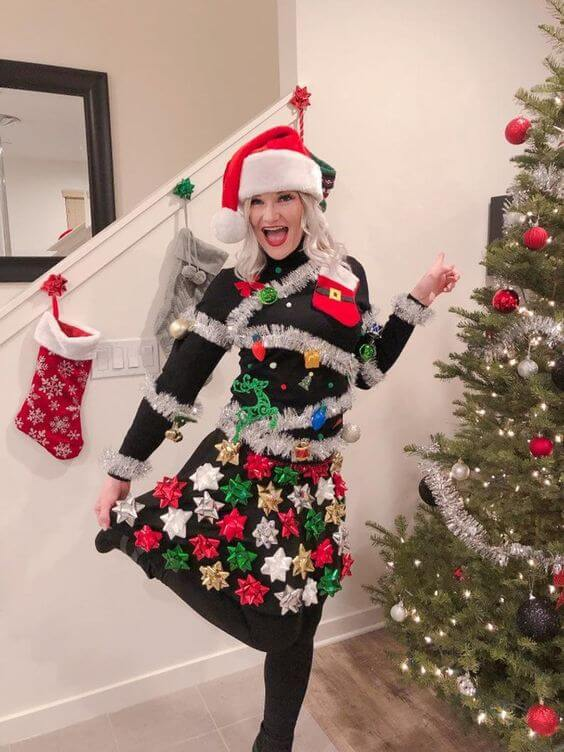 ugly christmas tree sweater outfits for girls
