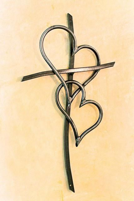3d cross with double heart tattoo design sketch