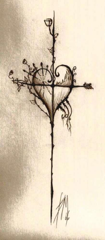 cross heart tattoo design  drawing sketch