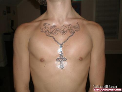 in gods hands tattoo with rosary beads cross design on chest