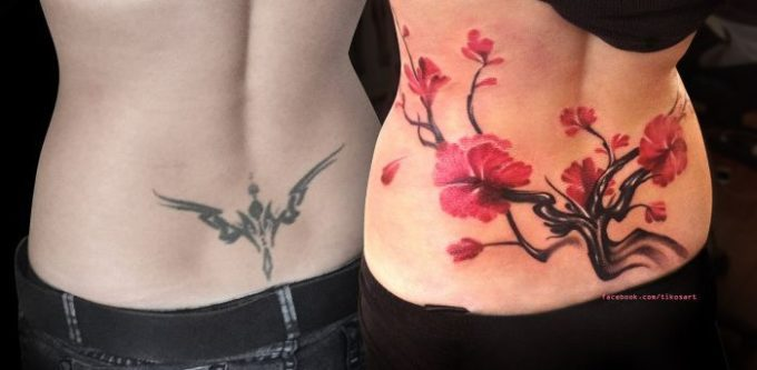 lower back cherry blossom flower tree cover up tattoo design