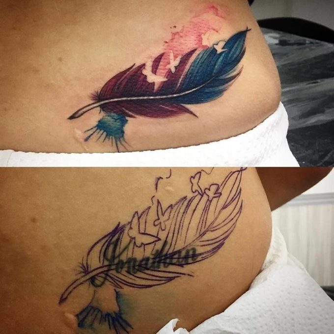 lower back birds of feather cover up tattoo