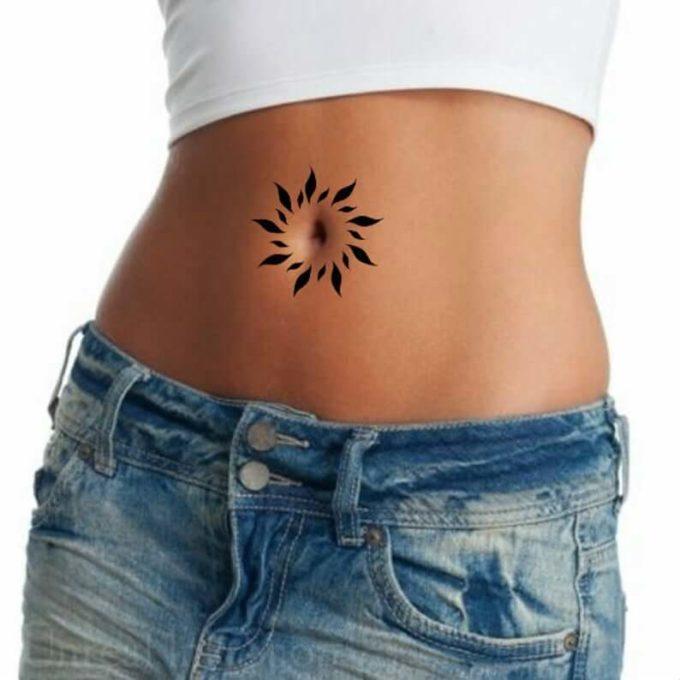 bellybutton sun tattoo ideas for girls