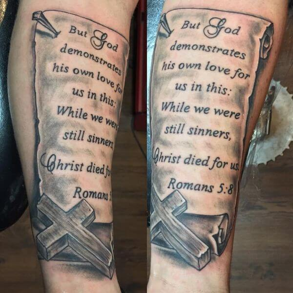 3d bible verse script tattoo on forearm