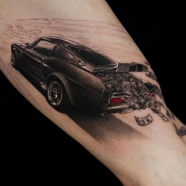 3d speedy mustang car tattoo design