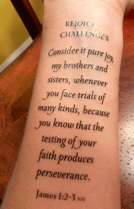 beautiful bible scripture font tattoo on arm