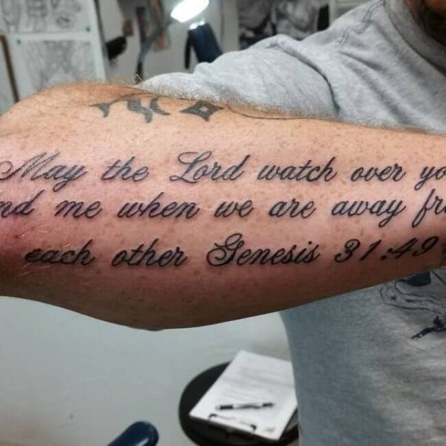 bible verse tattoo on forearm