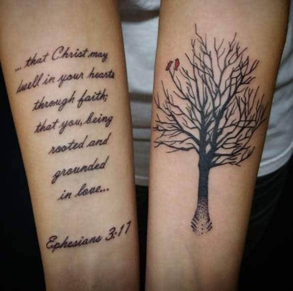 christ scripture tattoo on forearm with tree