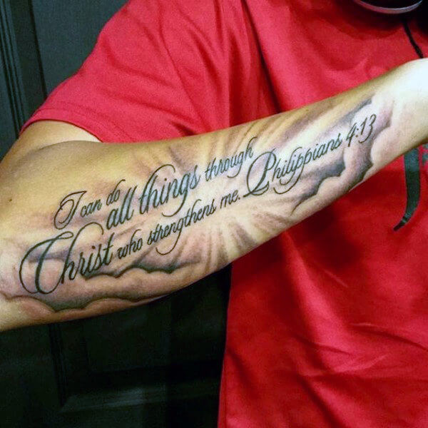 clouds with bible scripture tattoo on arm