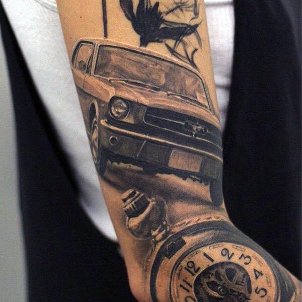 ford mustang car and clock tattoo