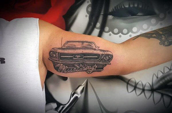 mustang car tattoo ideas for men