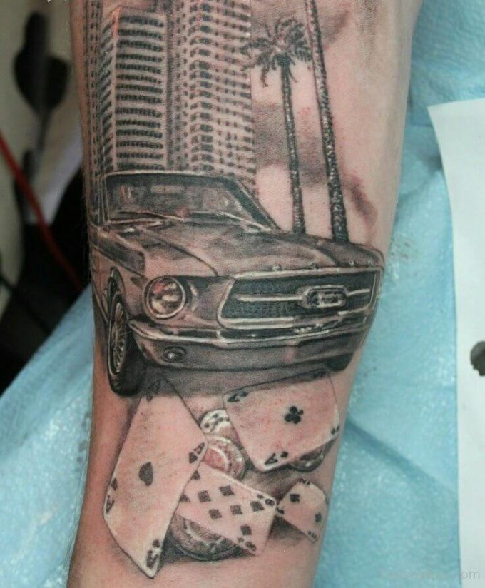 sports ford mustang car tattoo design