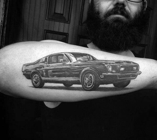sports mustang car tattoo on arm