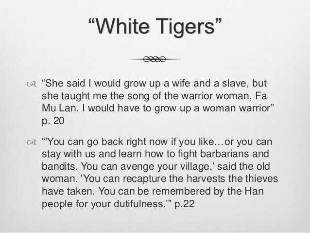 white tiger warrior woman quote